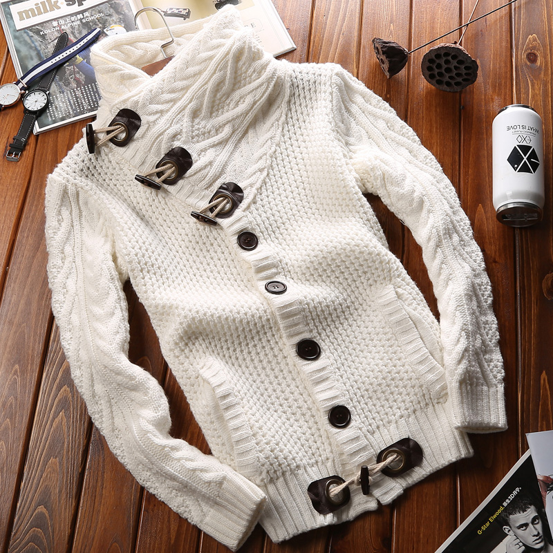Sweater coat mens autumn and winter Plush thickened slim high collar youth sweater cardigan Korean fashion loose sweater