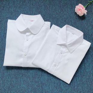 男童女童学生校服白衬衫春夏新款中大儿童纯棉白色衬衣长短袖上衣