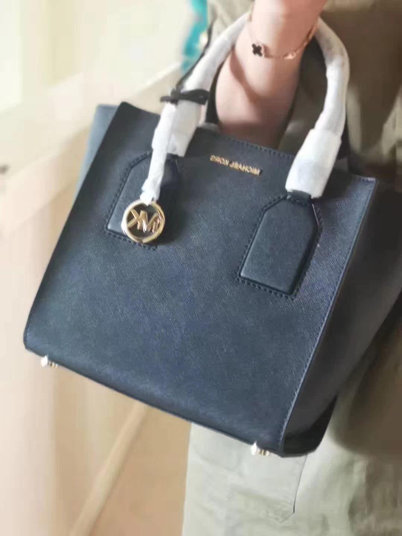美国代购  MK 女式包包 手拎包selby笑脸包 十字纹牛皮中包