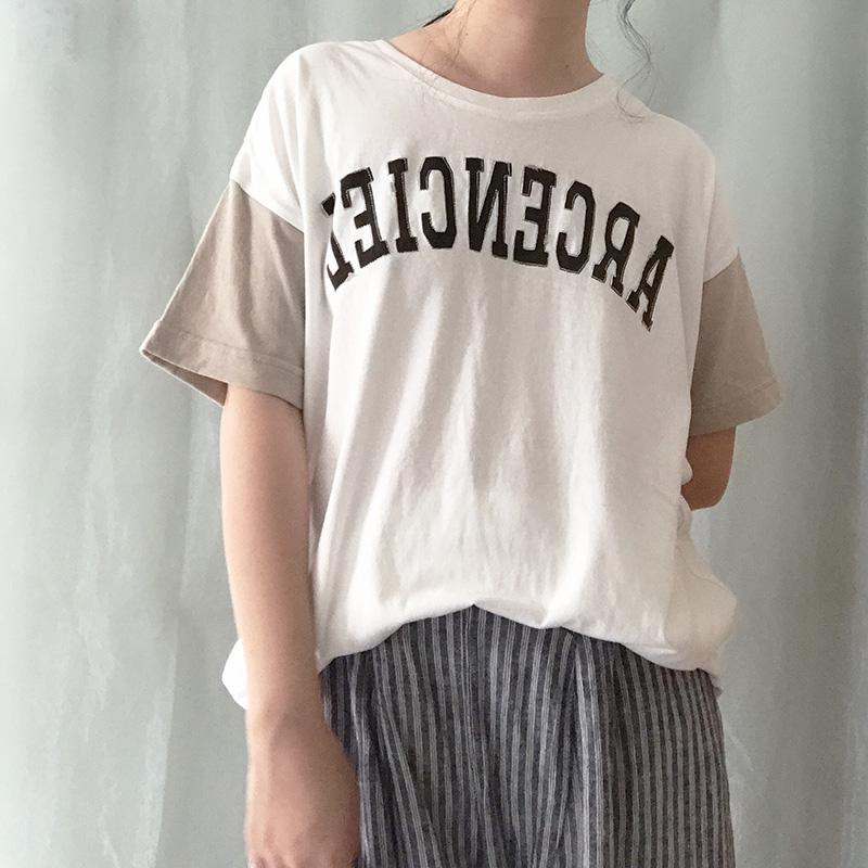 日系纯棉阿美咔叽风格森女复古刺绣字母宽松超大百搭T恤 0637