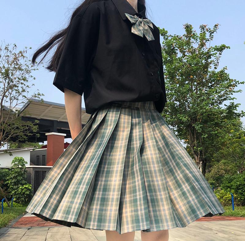 【XiXi】松間照 原創JK制服少女百褶裙 草綠色格裙
