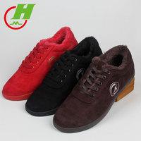 Красный хлопок Обувь Tai Chi ботинки с утеплением Сухожилие говядины зимний мужские и женские утепленный замшевый удерживающий тепло Боевые ботинки, обувь, обувь Tai Chi
