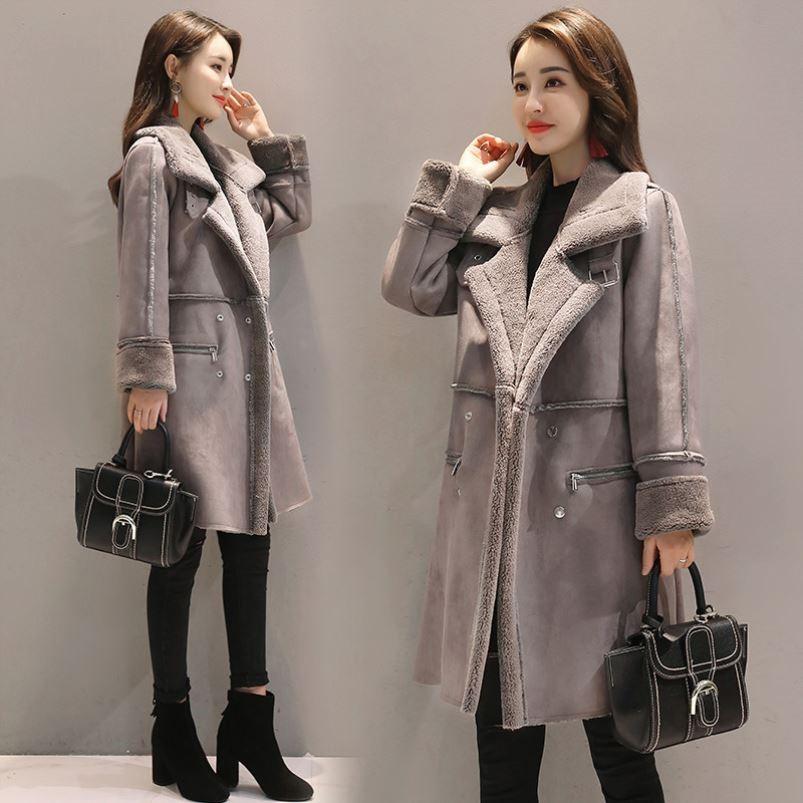 高档女装20秋冬女子加厚保暖中长大码加绒羊羔毛外套麂皮绒棉大衣
