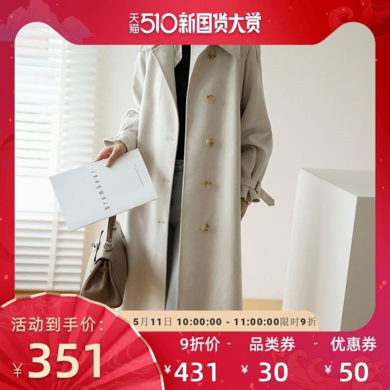 2020新款风衣女中长款麂皮绒今年流行英伦风外套韩版宽松秋冬大衣