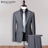 灰色西装男套装韩版修身商务上班职业正装休闲小西服外套男士上衣