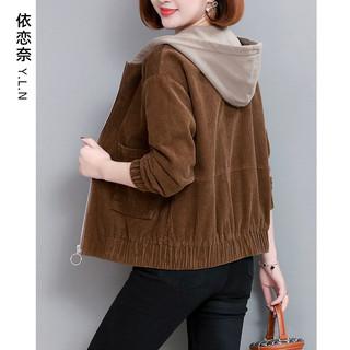 女士短外套2020春秋季新款今年流行大码二八月女装灯芯绒夹克上衣