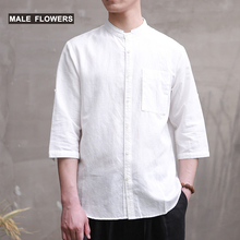 MALEFLOWERS/MALEFLOWERS/MALENWES Country Style Fresh Flax Shirt Literary and Art Loose Leisure Cotton and Flax Short-sleeved Male