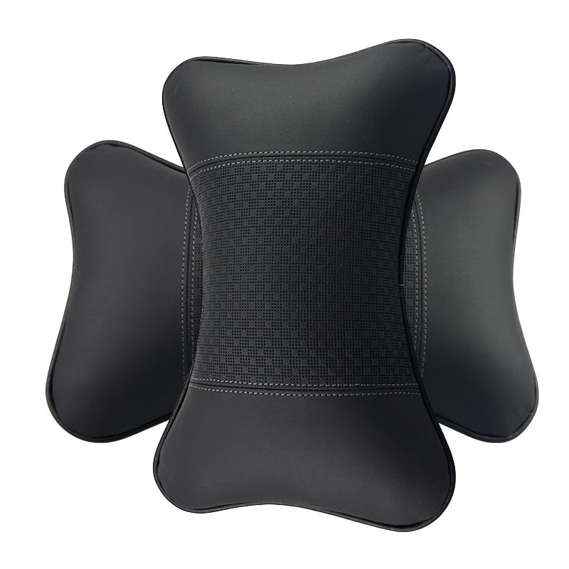 勁邁龍真皮王子 汽車頭枕護頸枕 車用靠枕 四季汽車用品 一對