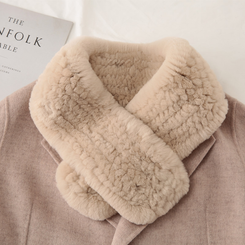 Korean Rex rabbit fur scarf for womens autumn and winter new thickened warm neck pure color versatile fur collar
