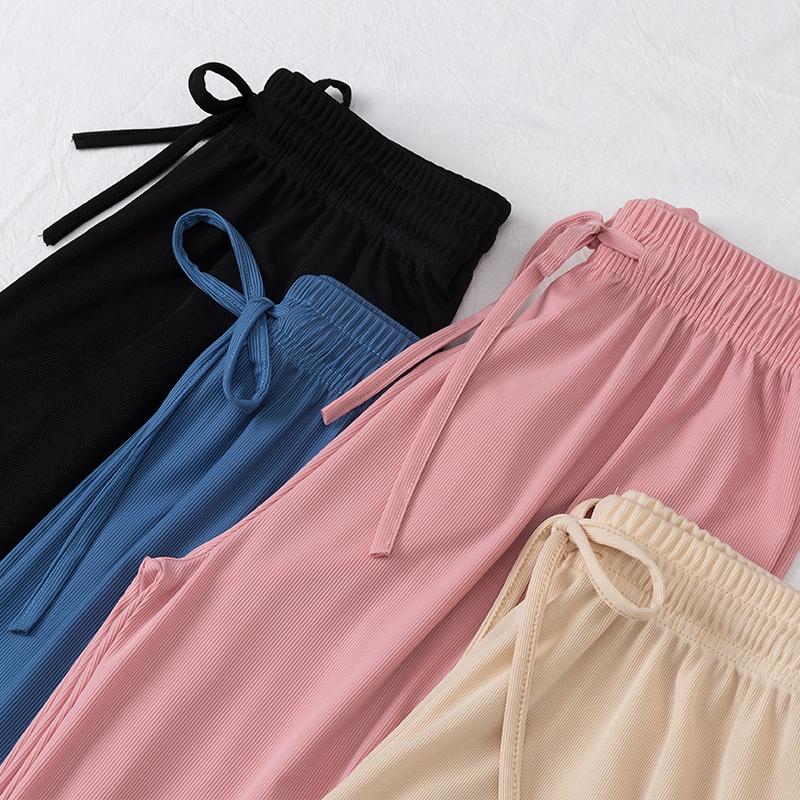 冰丝阔腿裤女夏高腰薄款垂感2021年新款宽松拖地休闲直筒坠感长裤