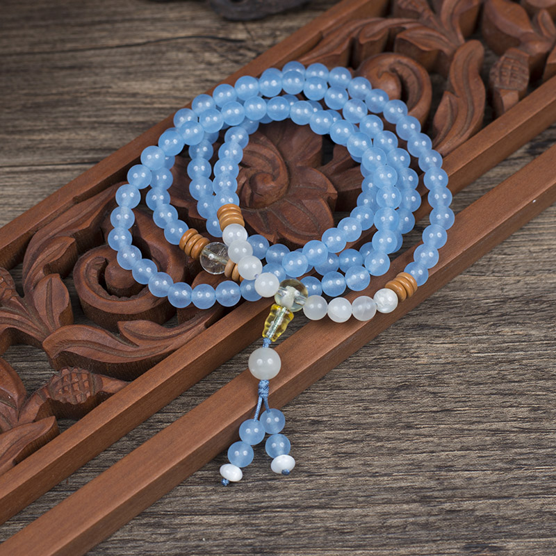 Original design handmade Blue Chalcedony beads with Moonstone Topaz olive spacer four Circle Bracelet can be used as necklace