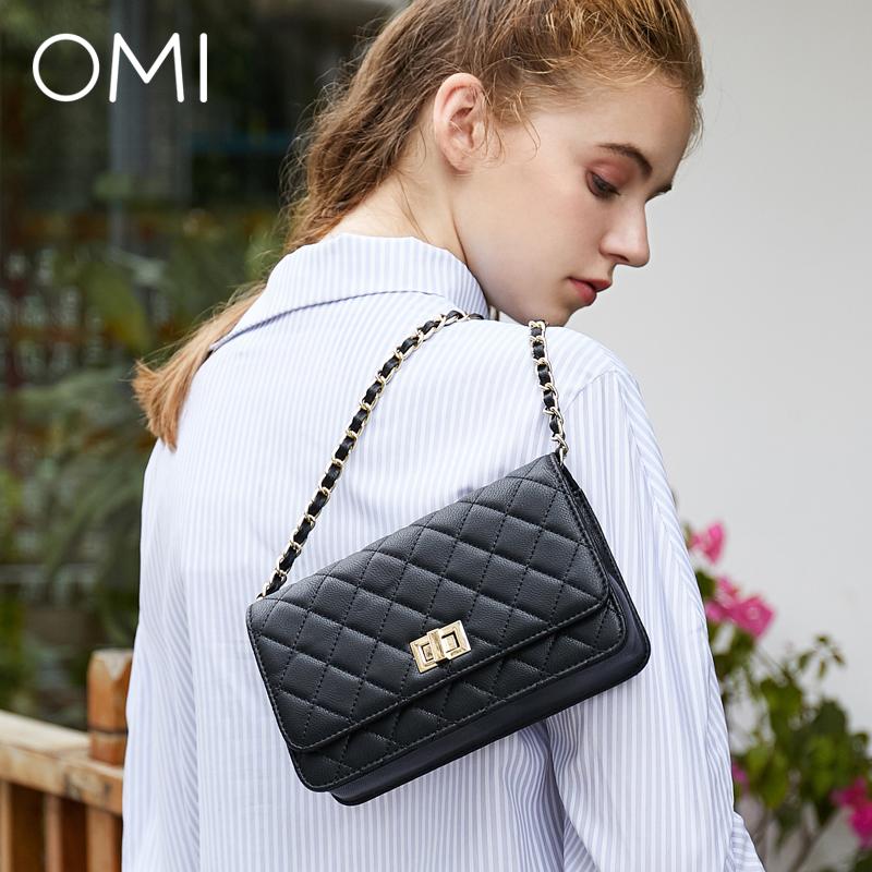 歐米omi女包2019新款幾何經典菱格包小香風斜挎鏈條包黑色鏈條包Z