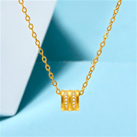 新品黄金项链女足金转运珠吊坠3D硬金路路通锁骨链项链女时尚百搭