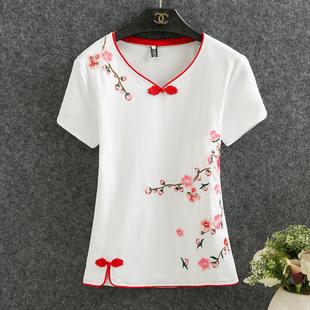 夏季中国风唐装上衣女长袖短款改良时尚中式刺绣中年妈妈汉服夏潮