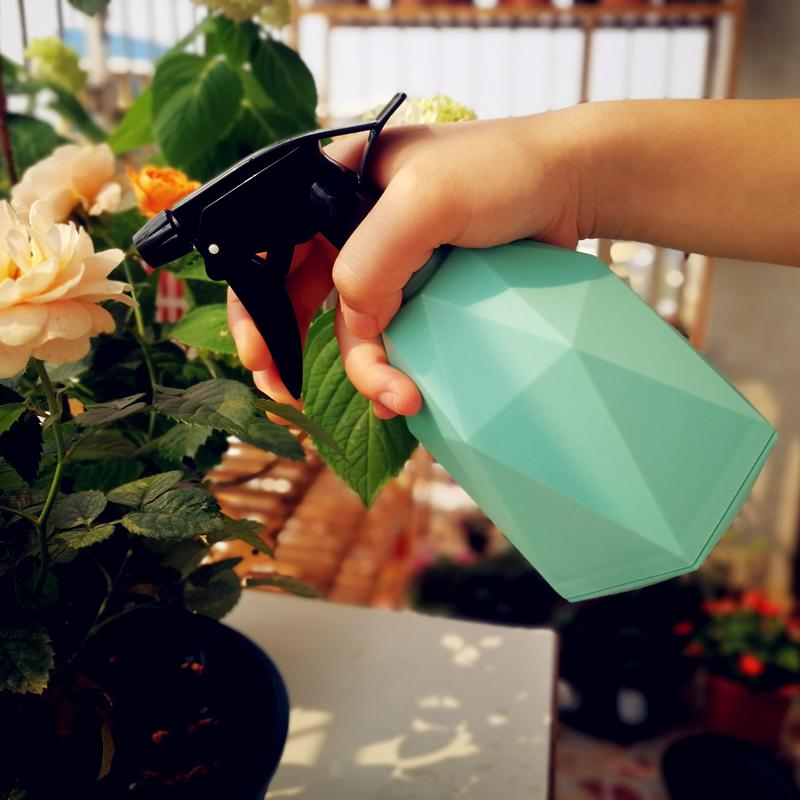 花に水をかけるスプレーポットの手触りが軽くて、新鮮で新鮮な園芸家庭用植物室内の菱形が不規則です。