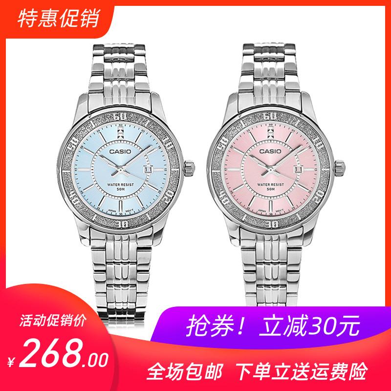 CASIOカシオ桜パウダーファッション腕時計女性防水鋼帯針石英ダイヤモンド女性時計LTCP 358 D