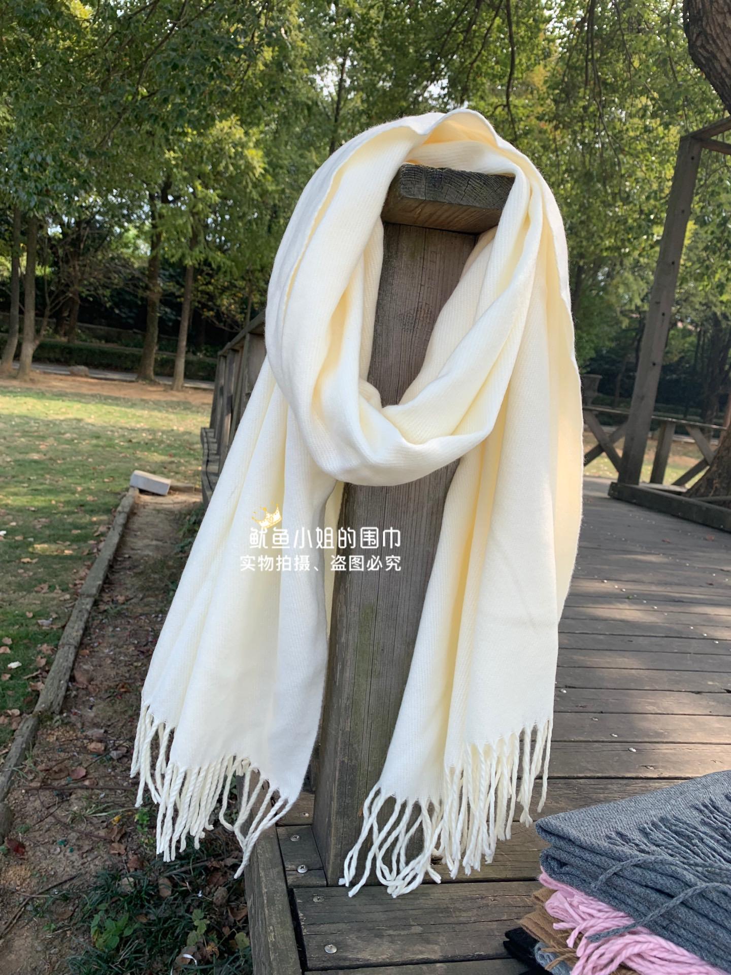 米白色围巾女冬季围脖仿羊绒柔软糯奶白日系纯色百搭保暖韩版学生