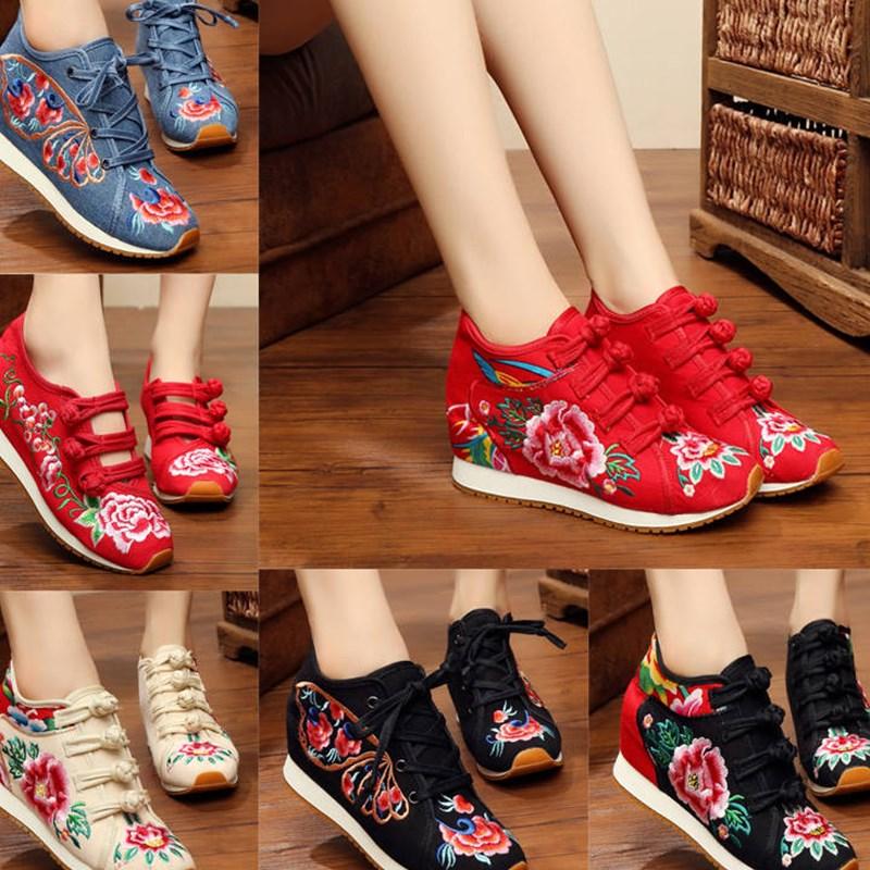 民族风高跟绣花鞋老北京女士布鞋内帆布休闲鞋旅游鞋舞蹈鞋袜