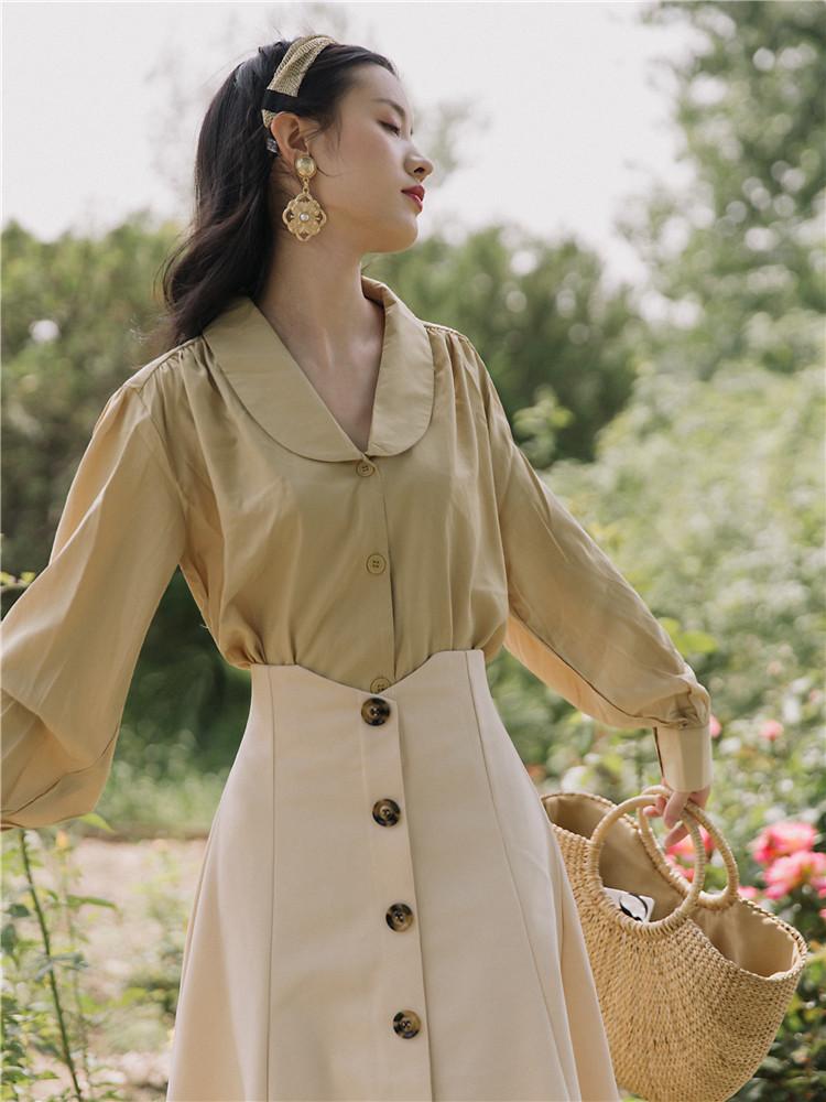 12-02新券初秋装套装女2019新款法式复古气质上衣搭配半身裙时尚洋气两件套