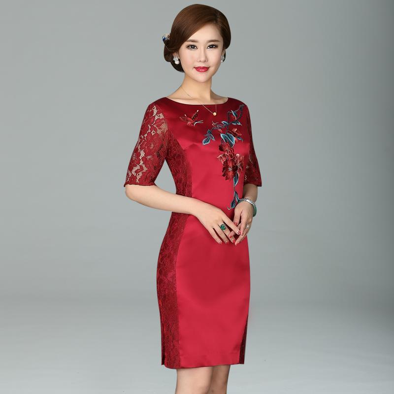 绣荷蕾丝旗袍夏季2018新款女低领显瘦改良版气质礼服装短款连衣裙