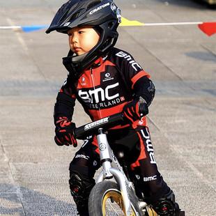 定制春夏平衡车反光儿童骑行服运动长袖套装自行车表演赛车轮滑服