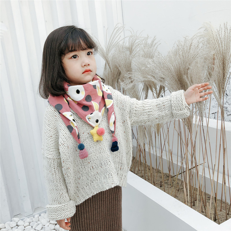 Childrens autumn and winter scarves Korean double layer cotton triangle scarf boys and girls cute and versatile five star triangle