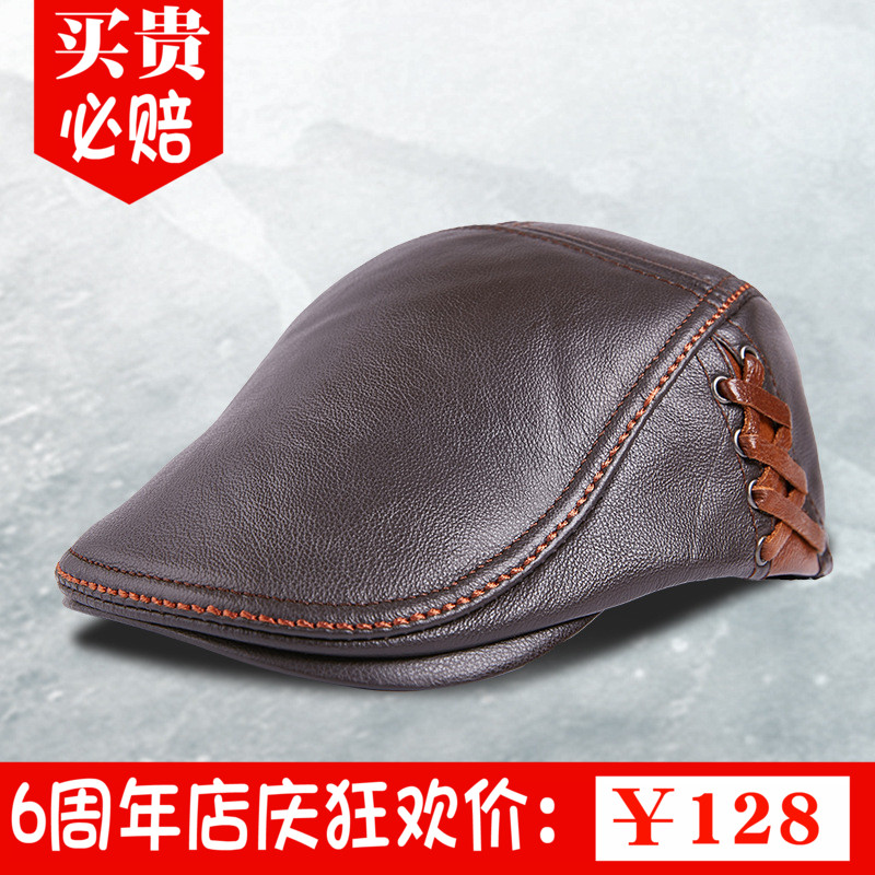 2019 autumn and winter heining Leather Hat mens Cowhide Beret cowhide cap leisure forward hat