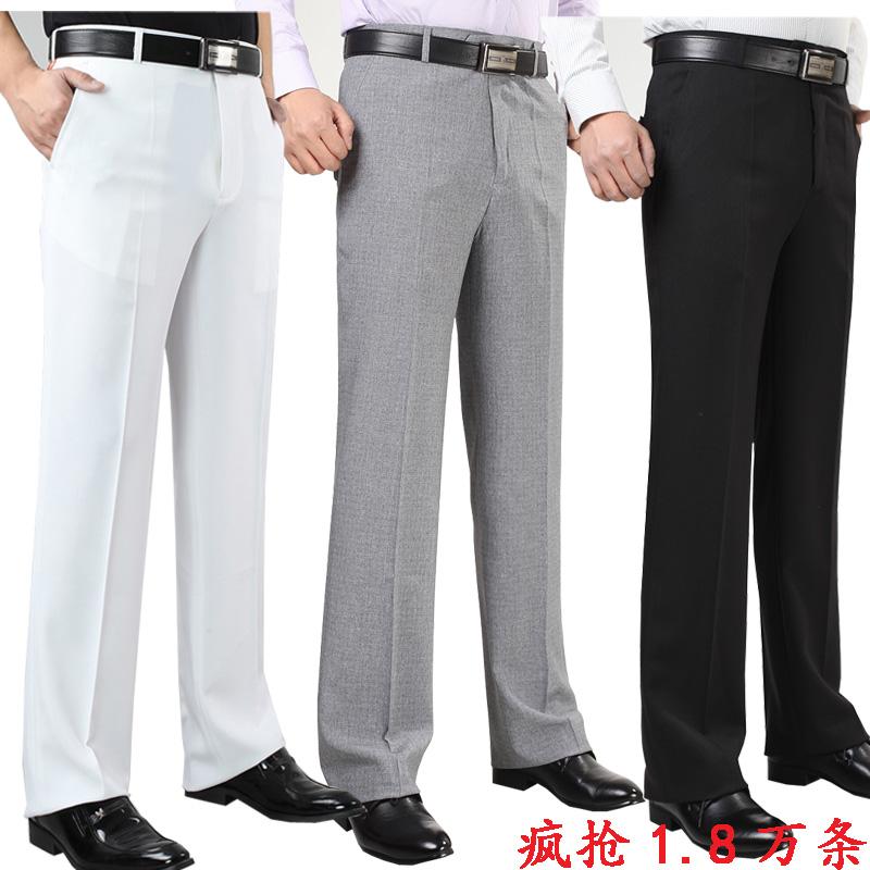 新品亞麻男士西褲男夏季薄款中年寬松商務免燙大碼高腰西裝爸爸褲