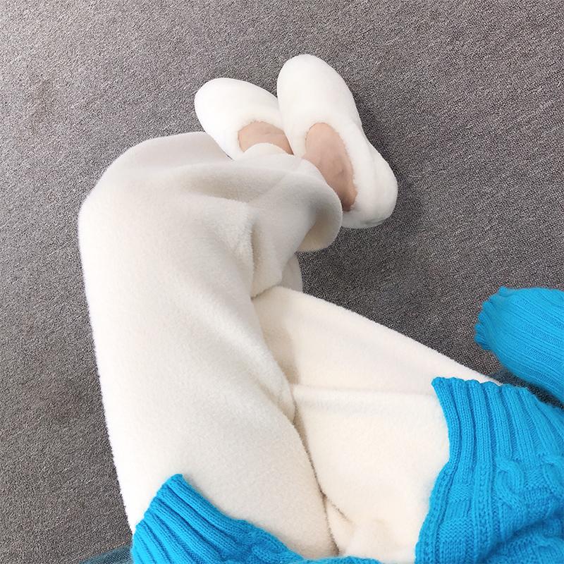 秋冬新款双面羊绒针织阔腿裤女加厚宽松休闲裤直筒高腰毛呢长裤子