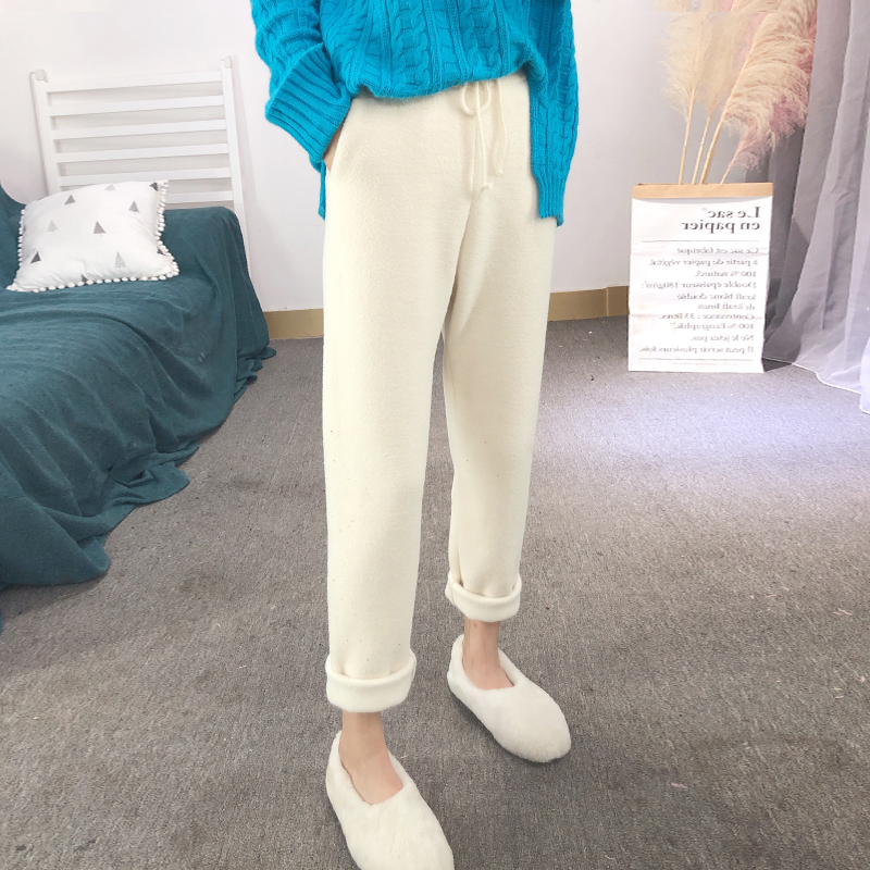 White cashmere knitted Harem Pants womens autumn and winter loose casual radish pants high waist woolen small foot Capris