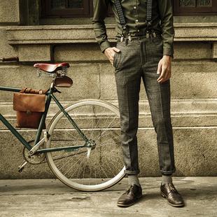 SOARIN英式复古格子休闲西裤男 夏装薄款格纹直筒西装长裤低腰