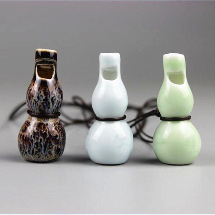 新品景德镇陶瓷饰品可吹响口哨民族风毛衣链可爱清新学生葫芦项链