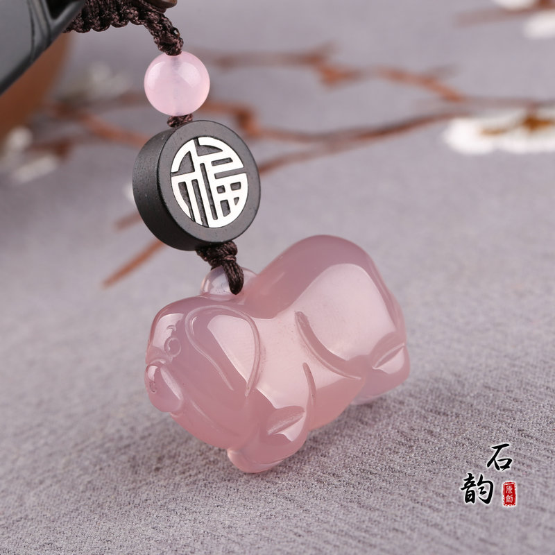 Clearing the warehouse at a loss. Pink Chalcedony piglets. Zodiac pig key chain pendant powder crystal agate jade pendant 30 yuan
