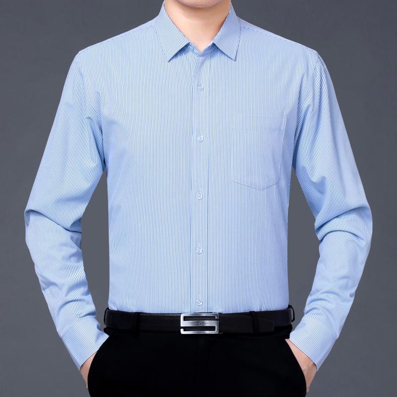 皮尔卡丹冬装新款衬衫羊毛条纹加绒宽松大码商务休闲爸爸衬衣-12