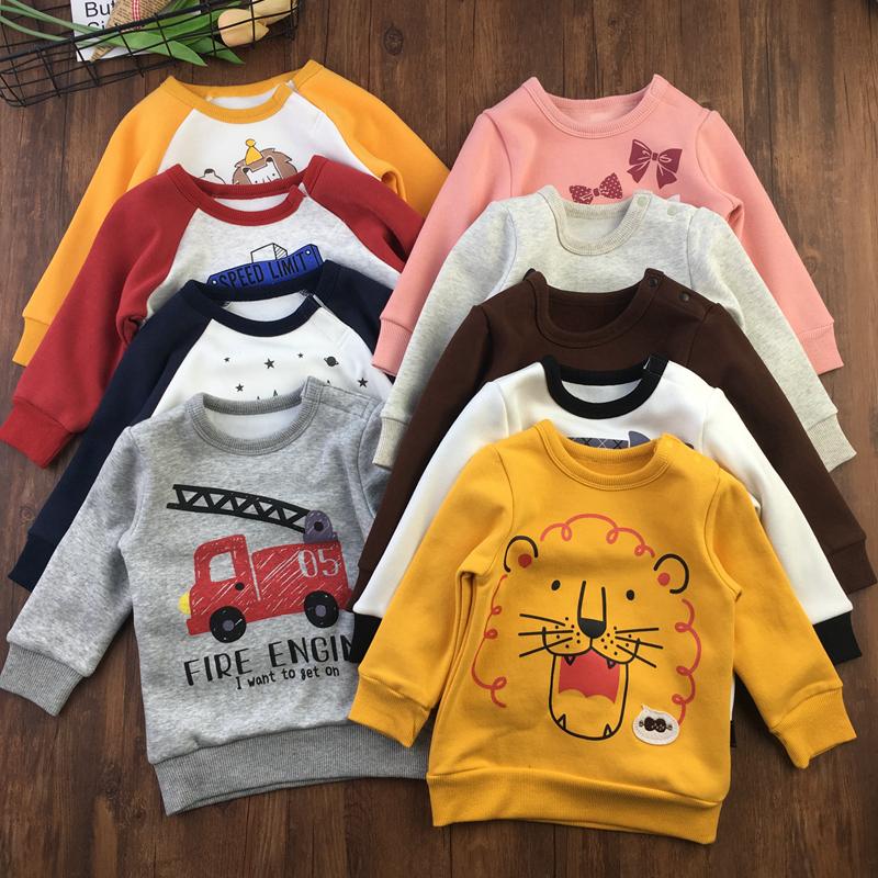 80-120码男女宝宝抓绒卫衣小童冬季保暖加绒套头衫上衣小码带肩扣