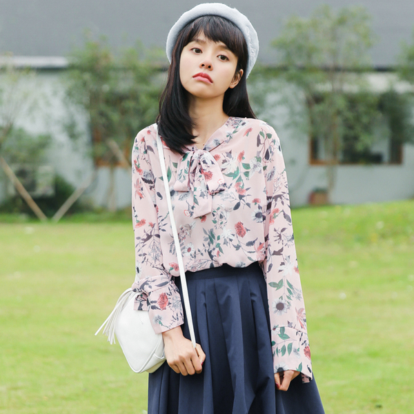 Summer Fashion Long Sleeve Printed Floral Chiffon Shirt