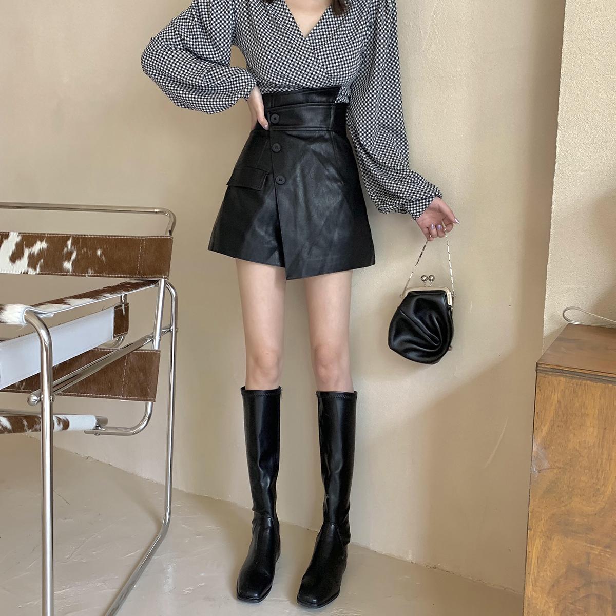 BOCCALOOK 一片式拼接高腰半身裙裤女秋冬不对称韩版A字短皮裤