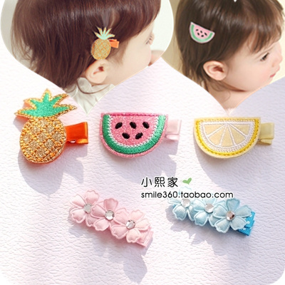 小熙家韩国进口儿童发饰品 甜美水果花朵安全包布宝宝发夹 发卡子