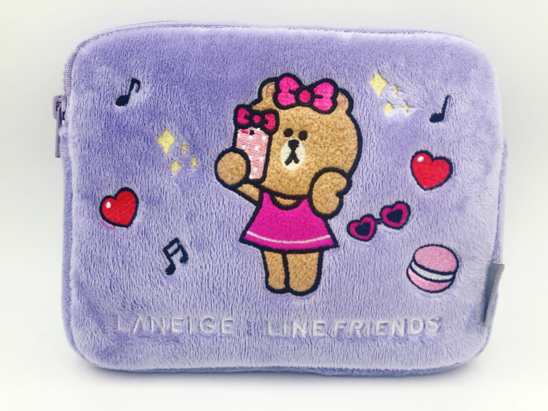 Lanzhi genuine linefriiendschoco limited edition purple cosmetic bag is super soft and can fit ipadmini