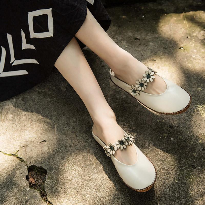 拖鞋女外穿包头拖鞋女真皮花朵单鞋女平底鞋复古文艺女鞋圆头森女