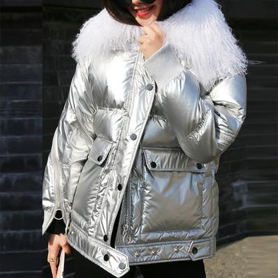 90绒19新款羽绒服女短款韩版时尚装漆皮亮面银色滩羊毛大毛领反季