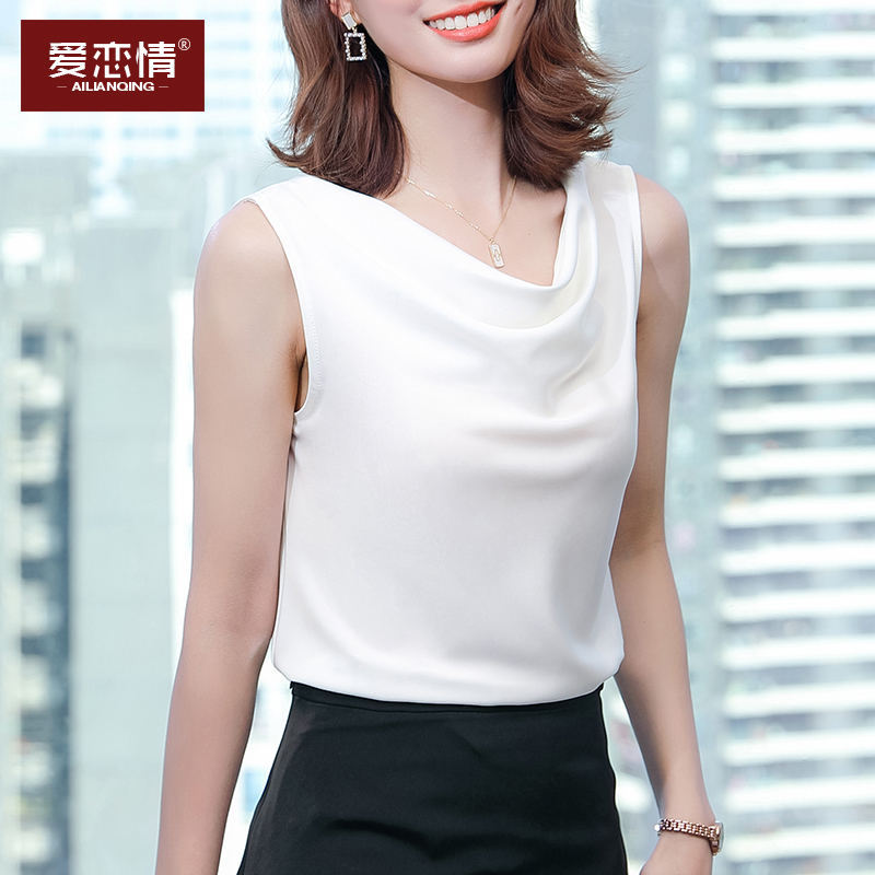 Design sense sleeveless bottomed vest womens summer coat pile collar satin with suit loose foreign style blouse