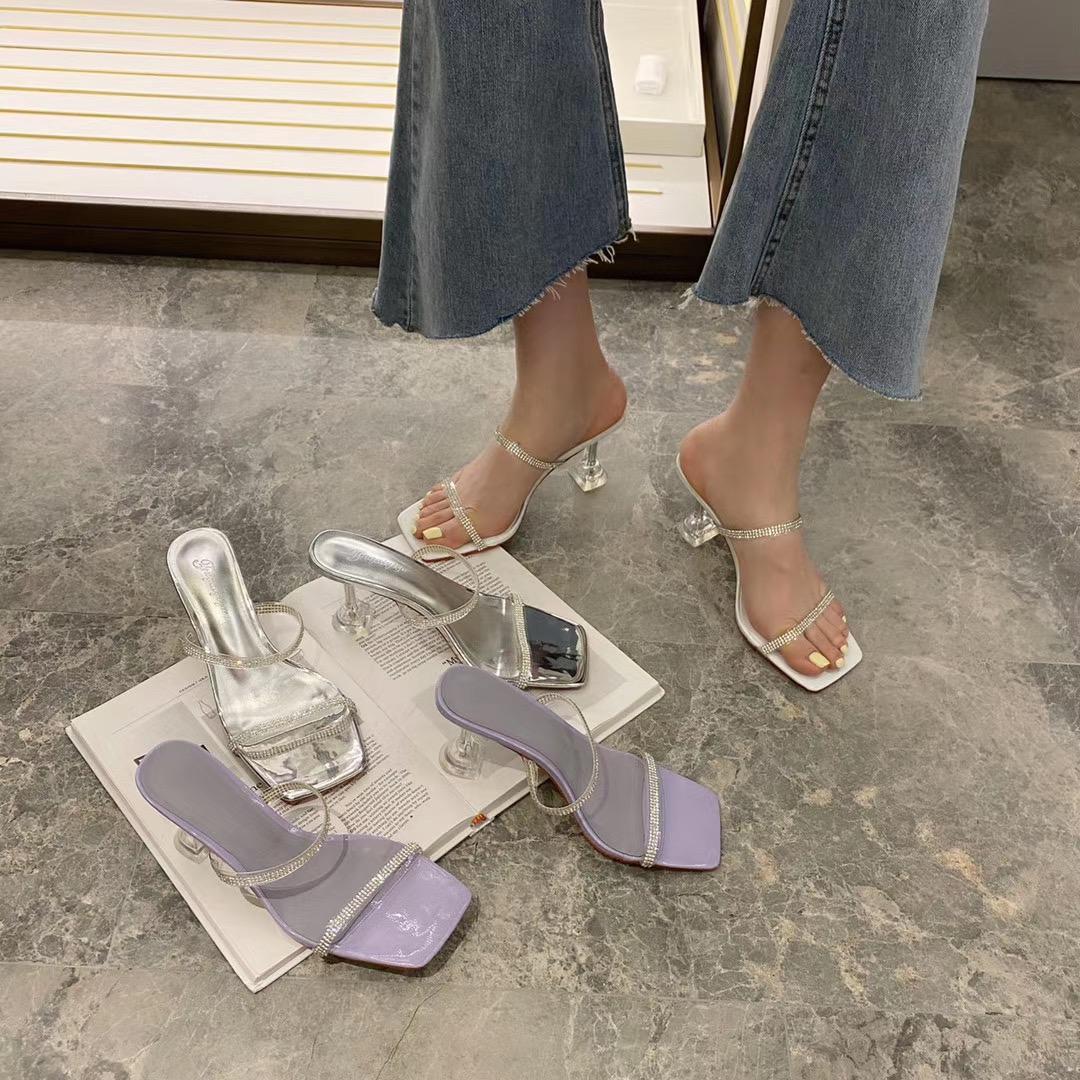 夏季新款水钻极简细跟气质真皮凉鞋