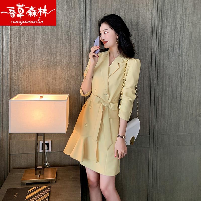 连衣裙女2020年夏季新款流行女装轻熟风气质洋气时尚春秋西装裙子