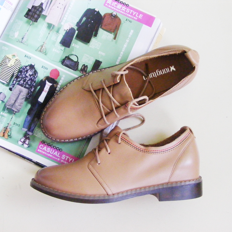 [first layer cowhide] 2021 spring counter flat heel leather single shoes soft Oxford Shoes soft casual small leather shoes