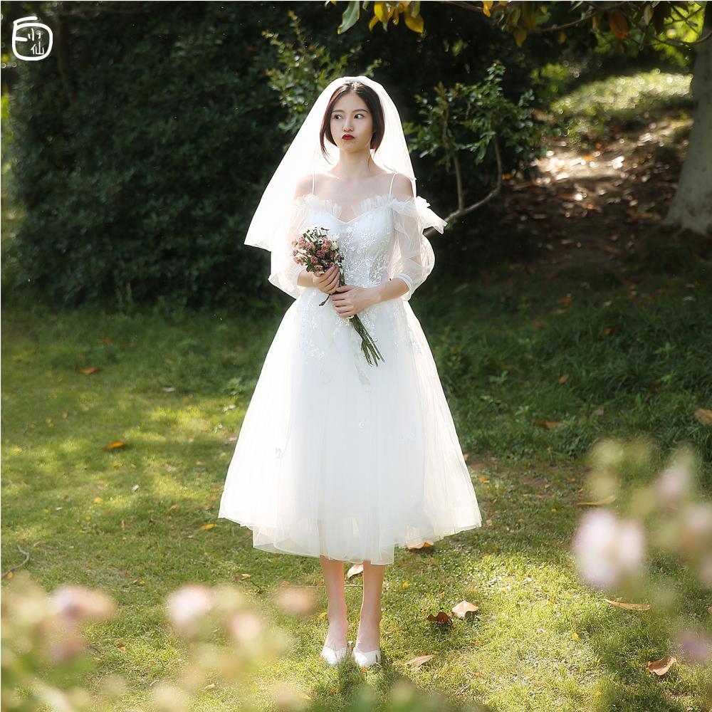 【白小仙】旅拍轻婚纱森系超仙吊带小个子新娘结婚出门纱小礼服夏