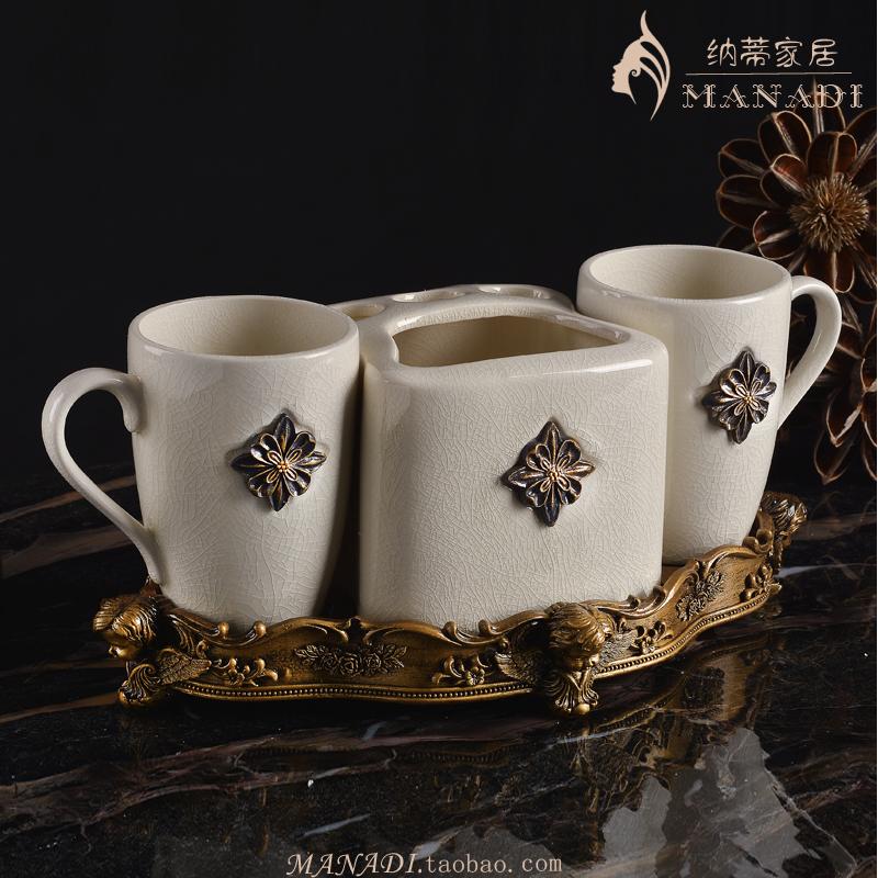陶瓷一体式卫浴五件套欧式浴室用品套件简约牙刷杯漱口杯洗漱套装