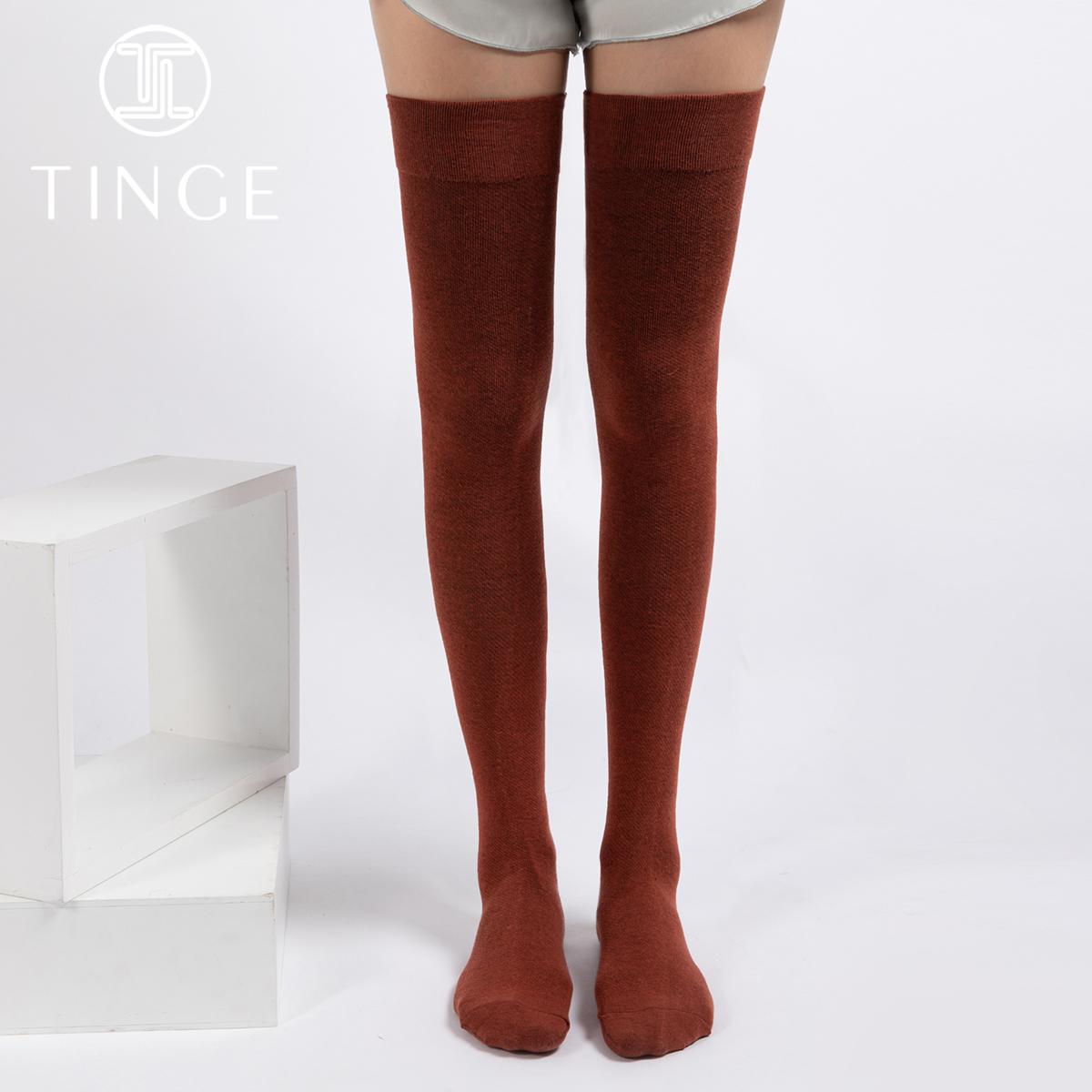 TINGE2条轻压精梳棉女士中筒袜ins堆堆袜日系长筒过膝袜子女秋冬