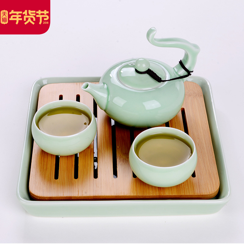 干泡台茶盘景德镇陶瓷功夫茶具家用储水日式小茶台迷你竹制茶托盘
