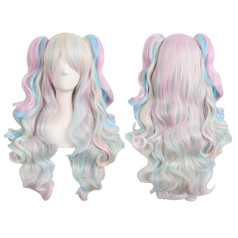 Play anime wig Lolita cute ITA Lori double horsetail tiger mouth with long curly hair